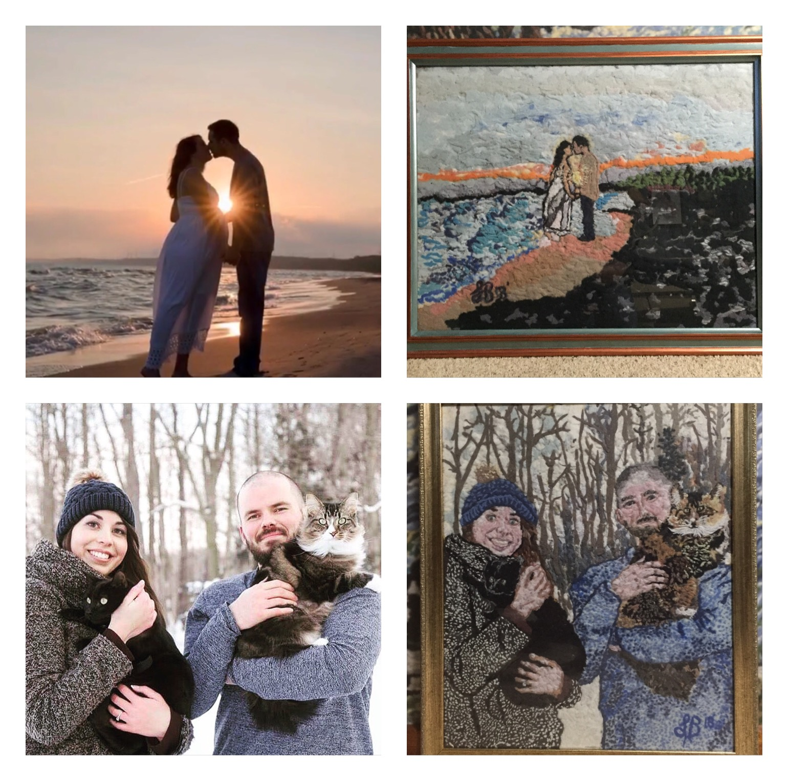 Engagement photos made of dryer lint