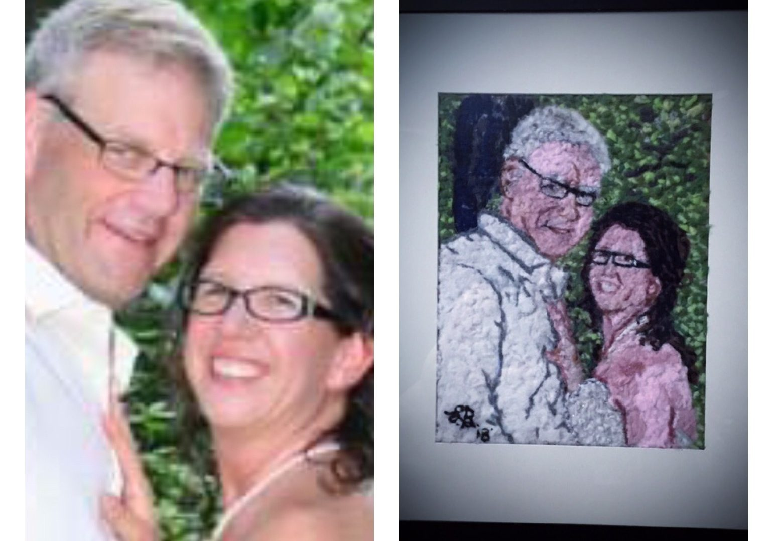 Wedding photo made from dryer lint